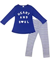 Jastore Girls 2 Piece Set Blue Long Sleeve T-Shirt and Stripes Leggings
