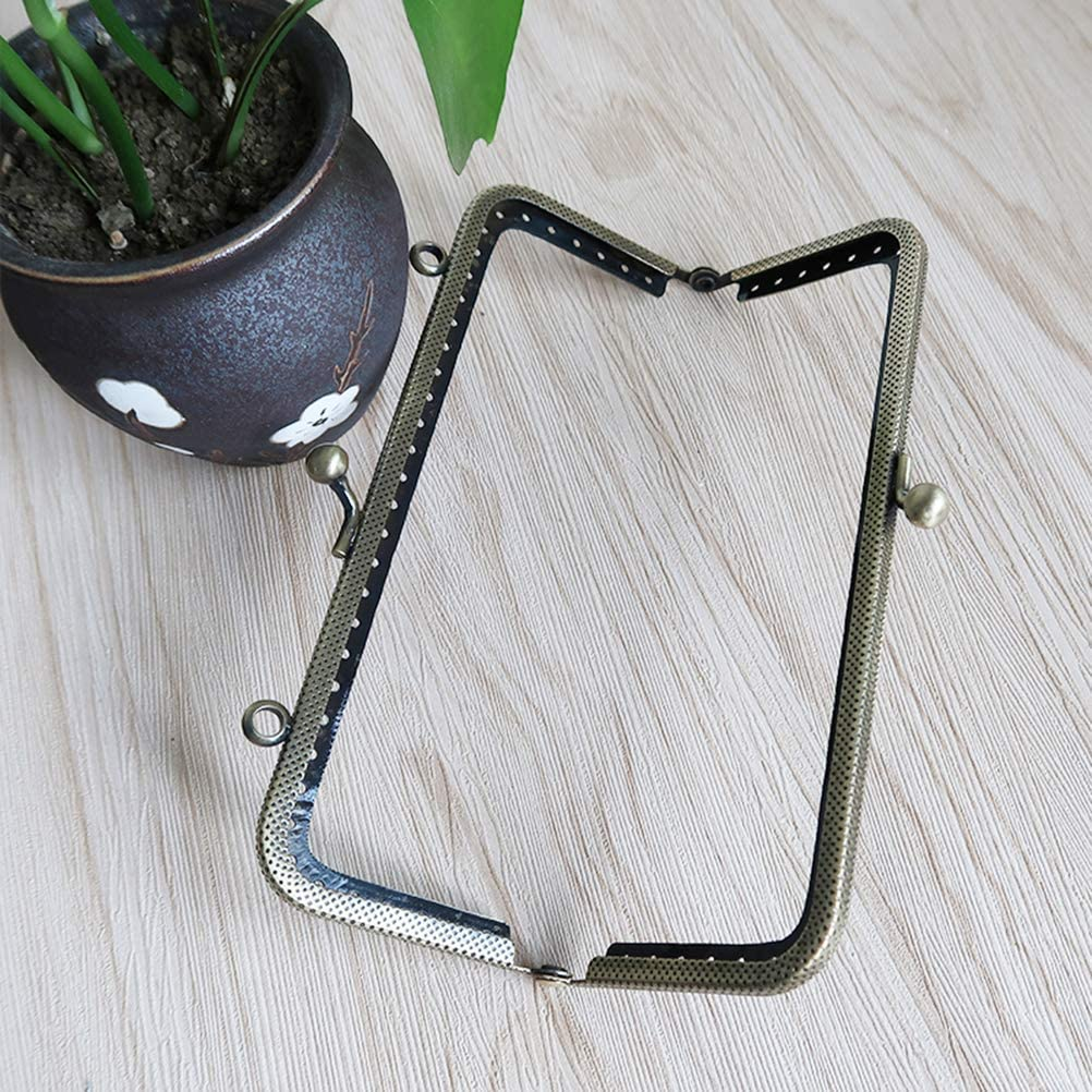 SUPVOX Metal Purse Coin Frame Retro Square Decorative Bead Flower Kiss Clasp Clutch Lock Clamp for Bag Making DIY Craft Accessories 6.5cm Green Bronze