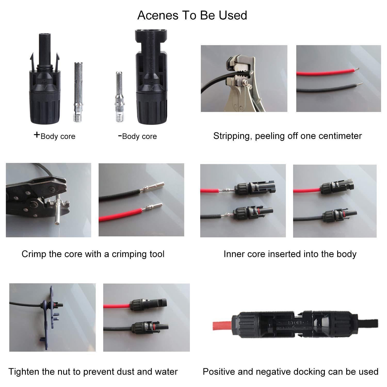 4 mm et 6 mm HSEAMALL Lot de 20 paires de connecteurs de panneau solaire MC4 connecteurs m/âles femelles pour c/âbles de 2,5 mm