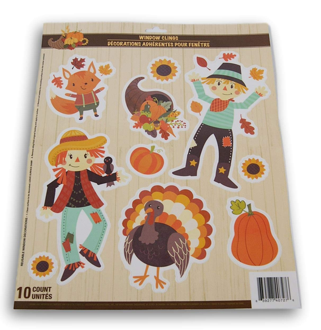 Seasonal Decor Autumn Fall Thanksgiving Themed Window Cling Set - Scarecrows and Turkey - 10 Piece