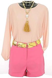 40d2cd7163 Lonalopa Short Femme Orange Taille Haute Ceinture Foulard: Amazon.fr ...