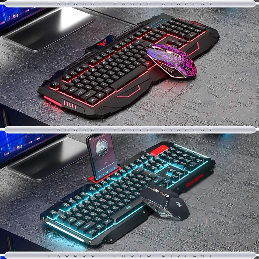 with Rich Multimedia Buttons Game Mouse and Keyboard Kit Suitable for Windows Computer Gamers Wrist Mouse Jstyal968 Yalztc-zyq16 PC Gaming Keyboard and Mouse Combination with Wired LED Backlight