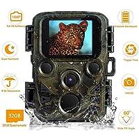 FeelGlad Wildkamera mit Bewegungsmelder Nachtsicht, 16MP 1080P Full HD Jagdkamera Infrarote 20m IP66 Wasserdicht Überwachungskamera mit Bewegungsaktivierung und Karte