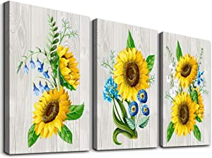"""Canvas Wall Art for living room bathroom Wall Decor for bedroom kitchen artwork Canvas Prints plant Abstract sunflower painting 12"""" x 16"""" 3 Pieces framed Modern office Home decorations family pictures"""