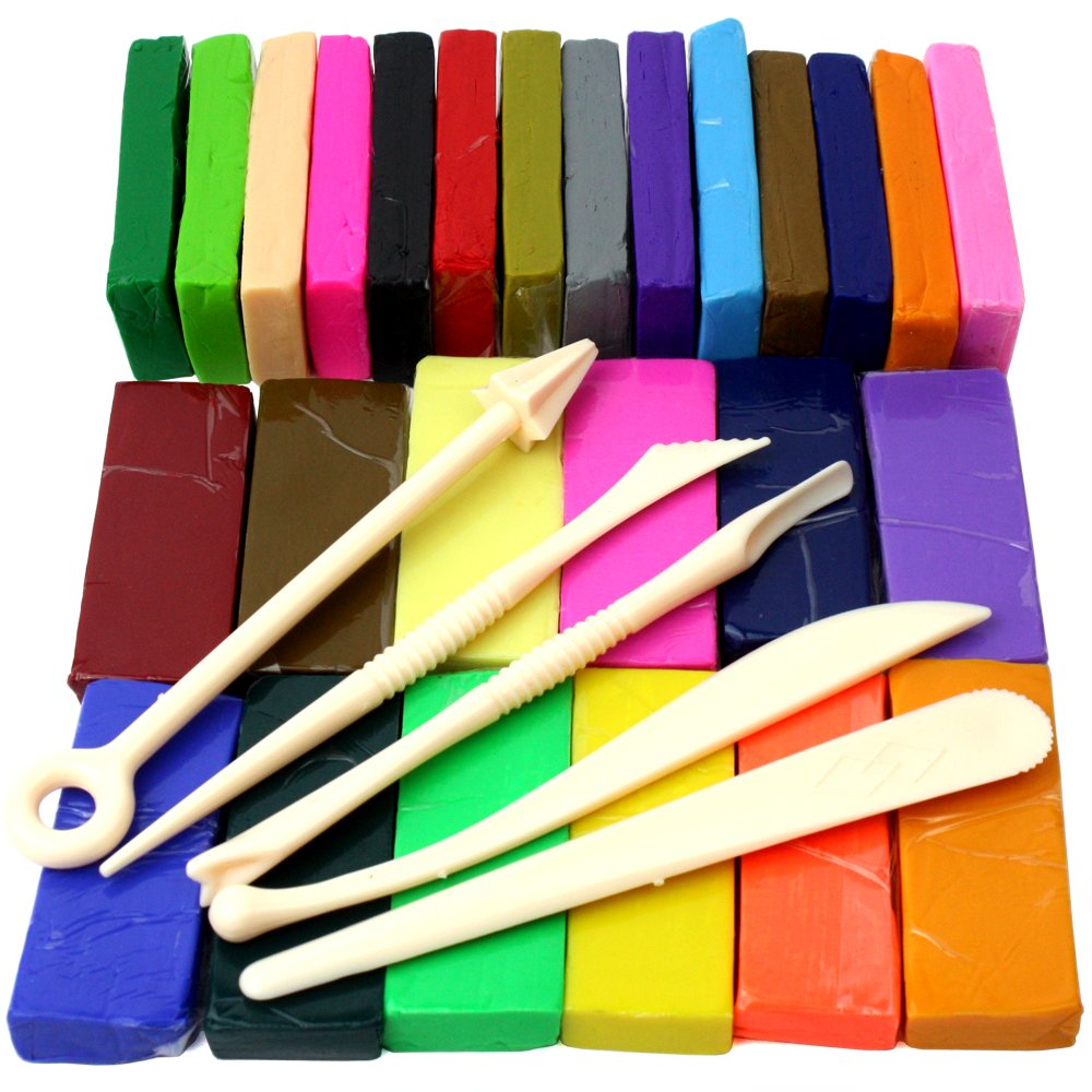 H&S Polymer Clay 650g 26 Colours Oven Bake Polymer Clay Block Modelling Moulding Tool set