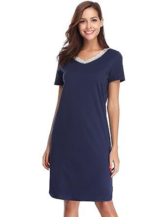 5ce520c34a5215 Hawiton Damen Nachthemd Kurz Baumwolle Spitze Nachtwäsche Nachtkleid  Negligee Sleepshirt Kurzarm für Sommer Blau S