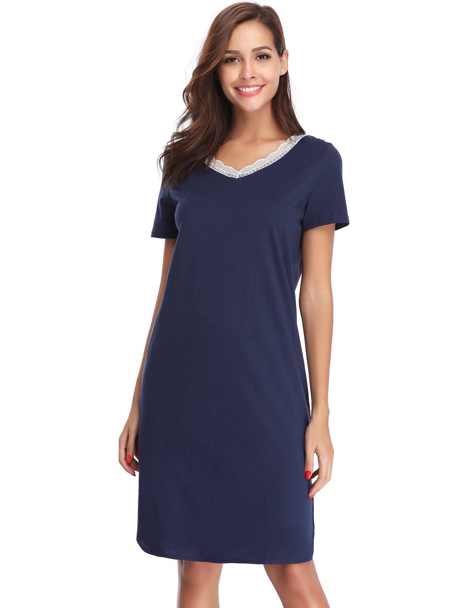 Hawiton Women's Short Sleeve Cotton V Neck Nightgown Sleep Dress Shirt