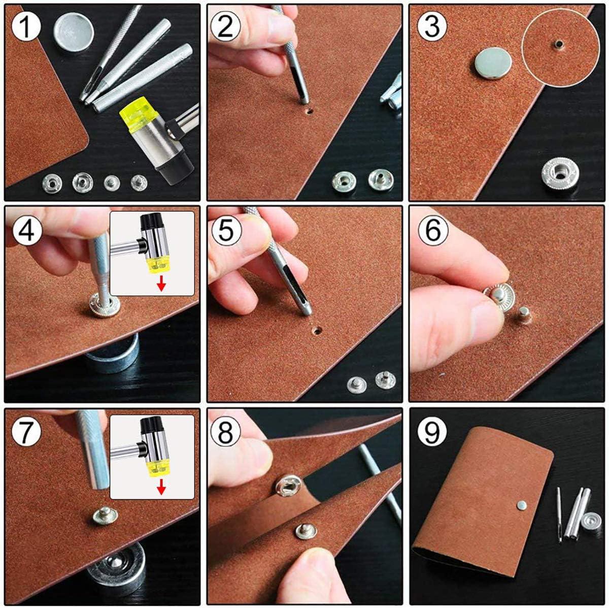 100 set di bottoni a pressione carta per pelle senza cuciture Wuudi plastica 240 set di borchie double face Kit di pinze per fori in pelle