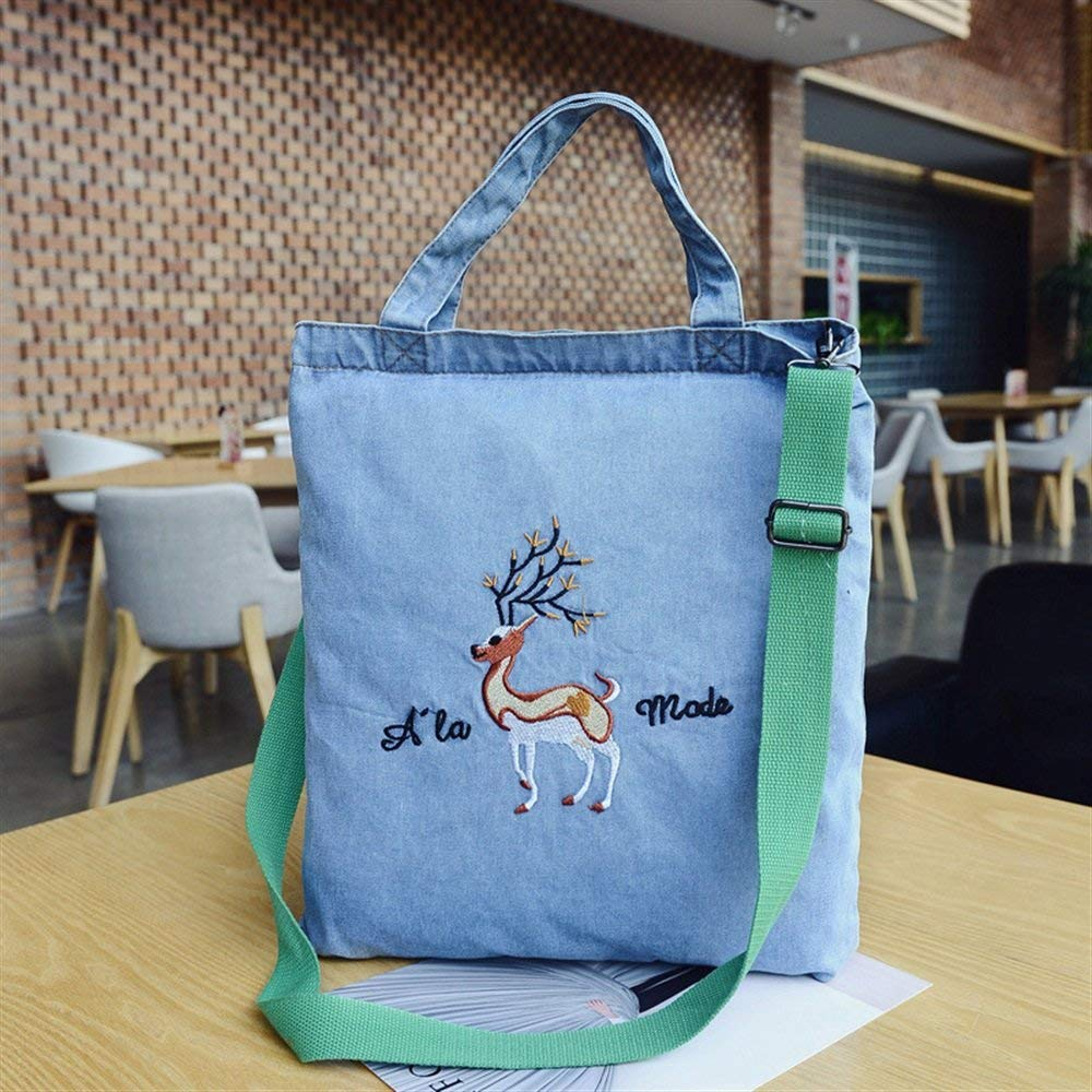 WHXYAA Retro Shoulder Bag Canvas Denim Cartoon Embroidery Shopping Bag Portable Crossbody Bag Light Blue Fawn Simple Atmosphere