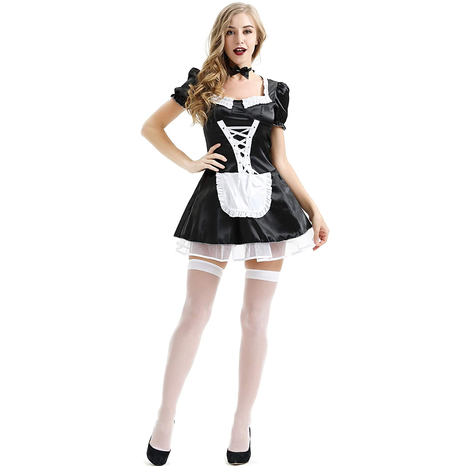 Amazon.com: Vansonly Womens French Maid Costume Sexy Black ...