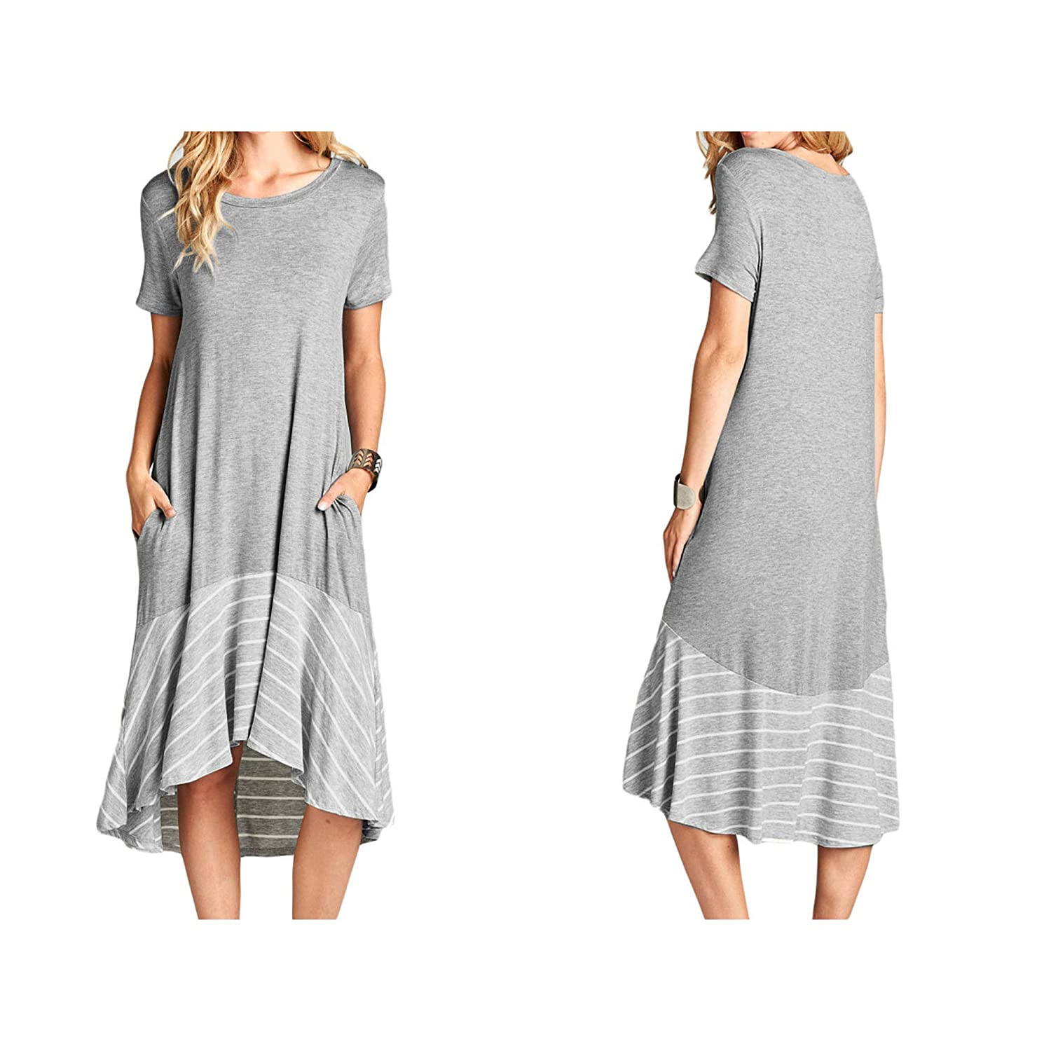 1de1bf42c088 Ancapelion Women's Casual Short Sleeve T Shirt Dress Loose Patchwork Midi  Dress with Pocket at Amazon Women's Clothing store: