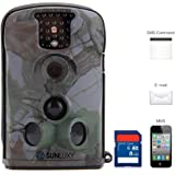 SUNLUXY® Caméra de Chasse Surveillance Vidéo HD / GSM / MMS / GPRS / SMS Recorder Observation Imperméable Niveau Etanche IP54 Nature Animal 12MP 8 Go SD Carte IR-CUT Vision Nocturne (Nouvelle Version)