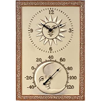 Sun U0026 Moon 10 In. Wide Thermometer Wall Clock