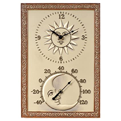 Beau Sun U0026 Moon 10 In. Wide Thermometer Wall Clock