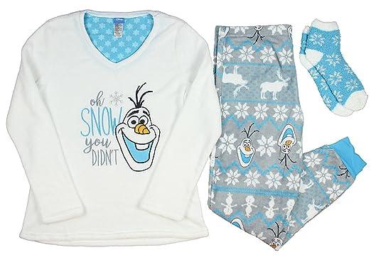 Fashion Disney Frozen Olaf White 3 Piece Fleece Pajama Sleep Set w Socks - X bd71652ba
