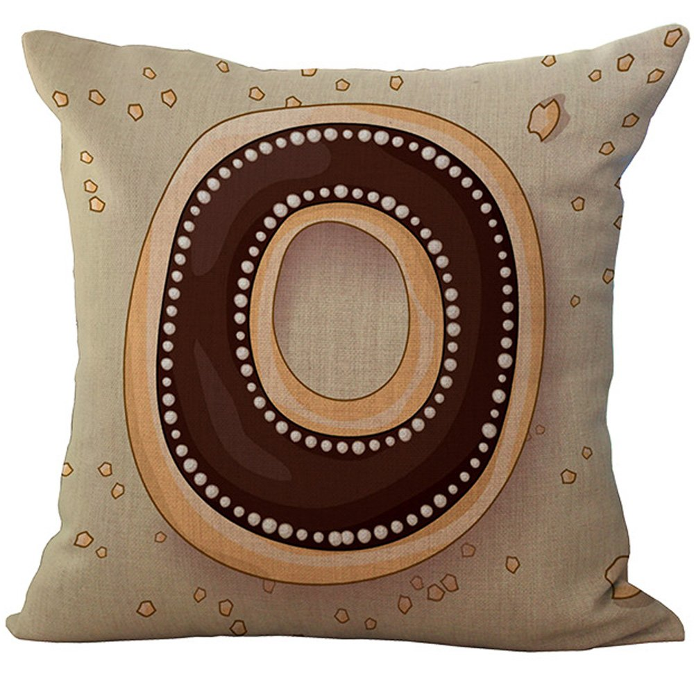 (WITHOUT FILLER, O Doughnut) - 26 Alphabets Dessert Printed Back Cushion Cover ChezMax Throw Pillow Case Slip Sham Slipover Pillowcase For Family Drawing Dinning Room Safa Couch Chair Seat O Doughnut Donut WITHOUT FILLER O Doughnut B019DQ1ALY