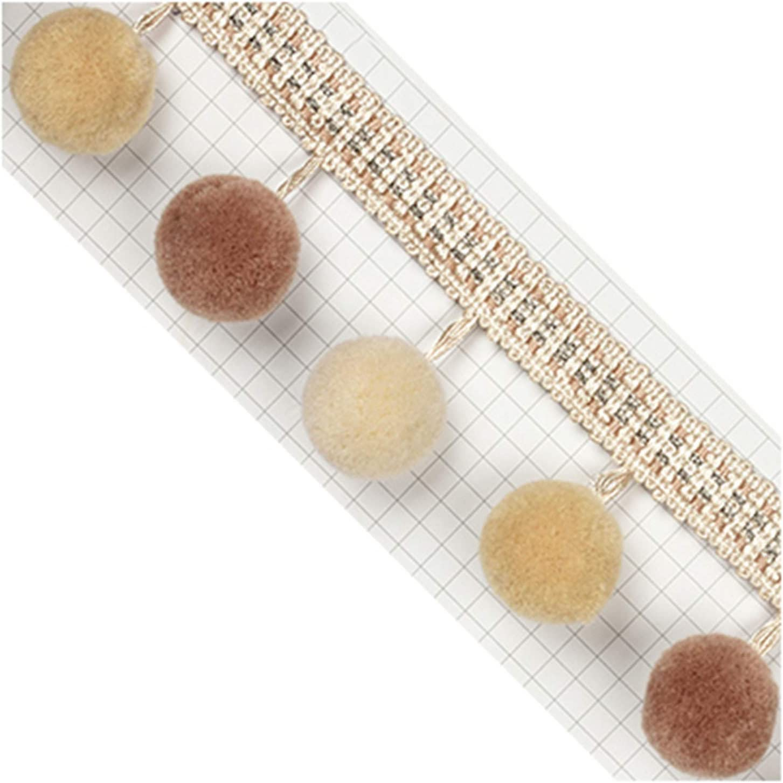 Zeagro Cinta de tela de jacquard con pompones de flecos y flecos decoradas de 1 metro para coser cortinas o mesas de boda