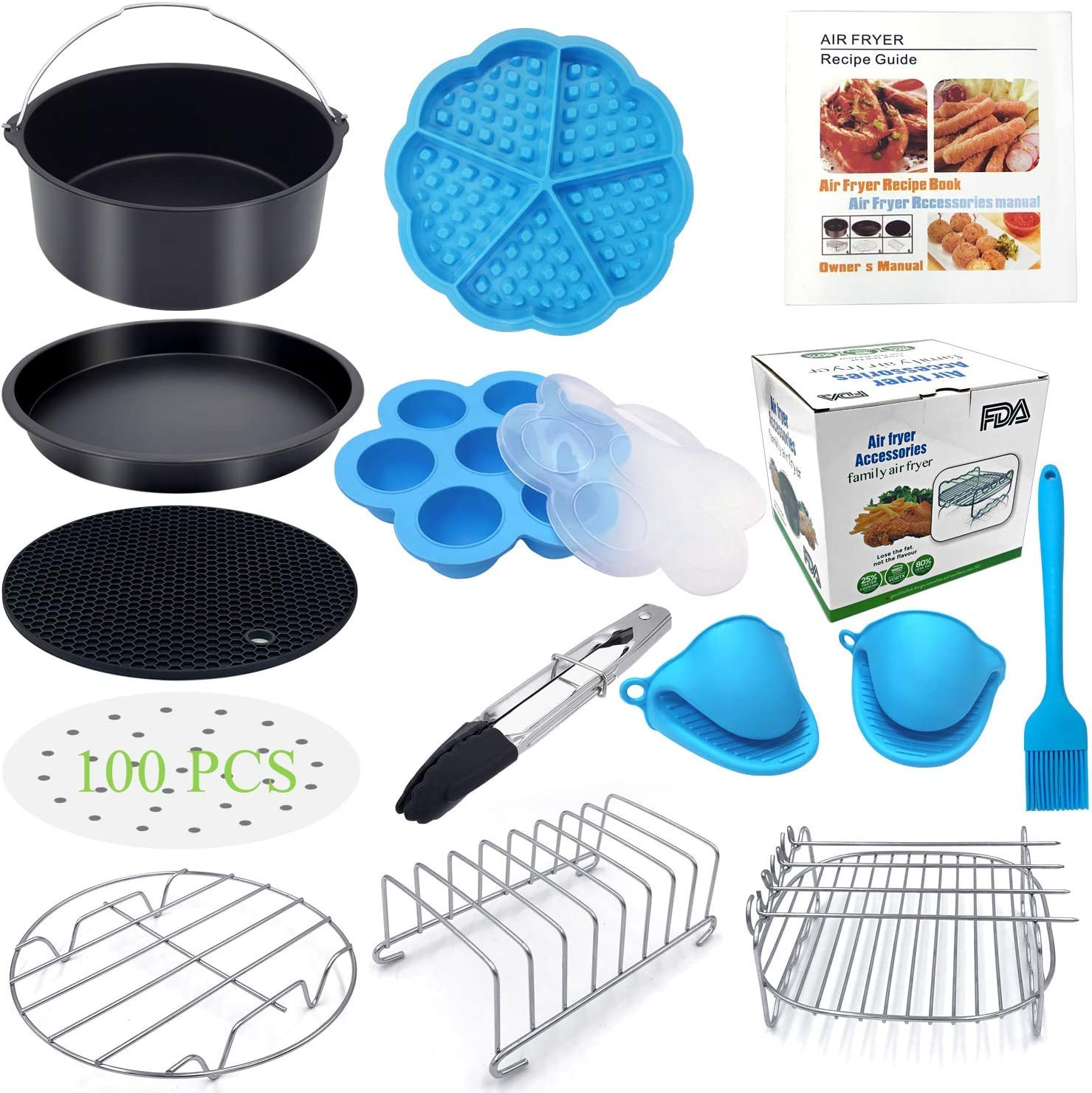 Eco Moda 7 inch Air Fryer Accessories 12 pcs with Recipe Cookbook Compatible with Ninja Foodi 5&6.5&8qt (OP101,OP301,OP302,OP401,FD401) and Growise Cosori Ninja and Philips Fit all 3.7QT - 5.8QT