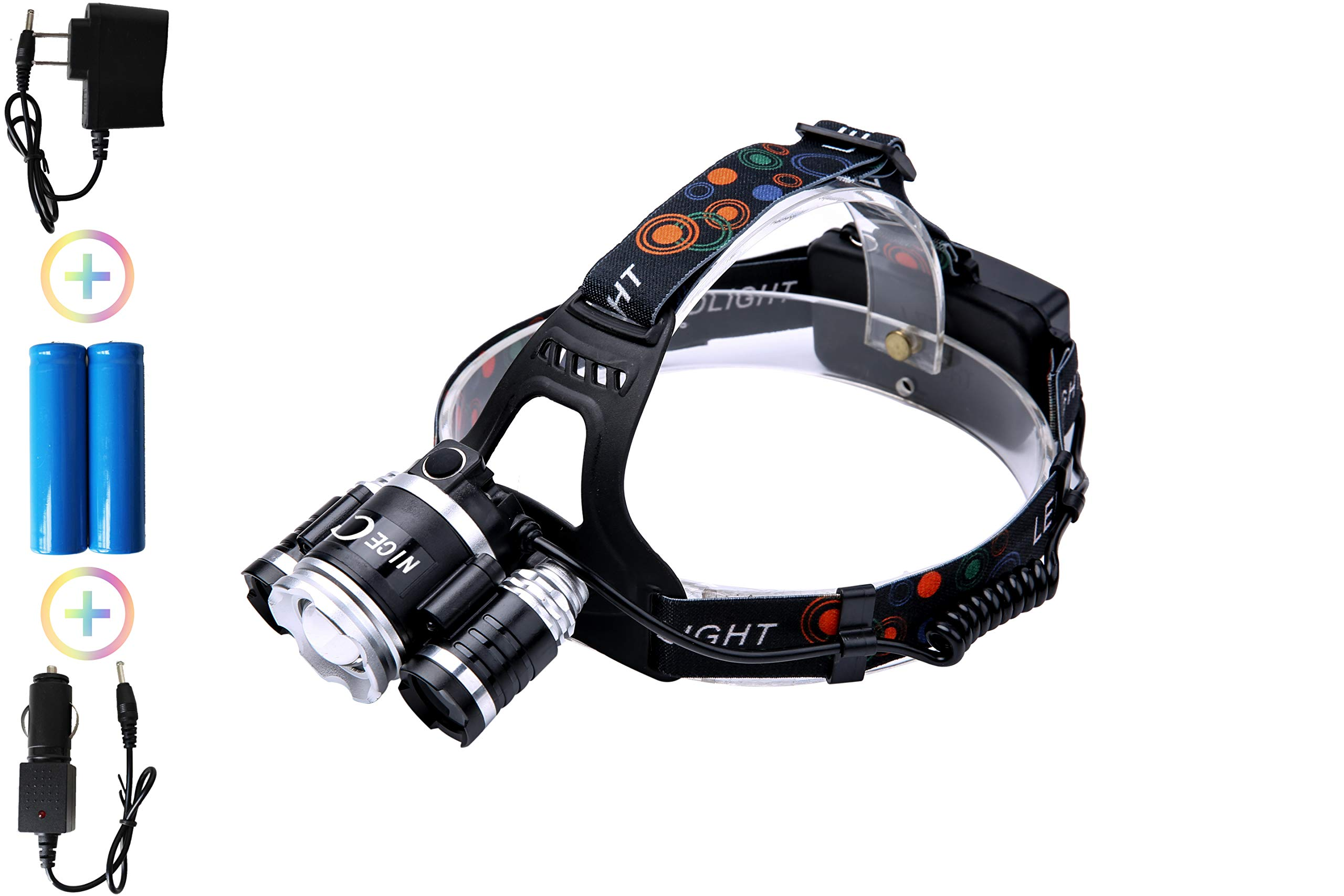 NiceC Induction Rechargeable Headlamp Waterproof LED 6000 Lumen flashlight headlight for camping, work, night riding, running, hiking