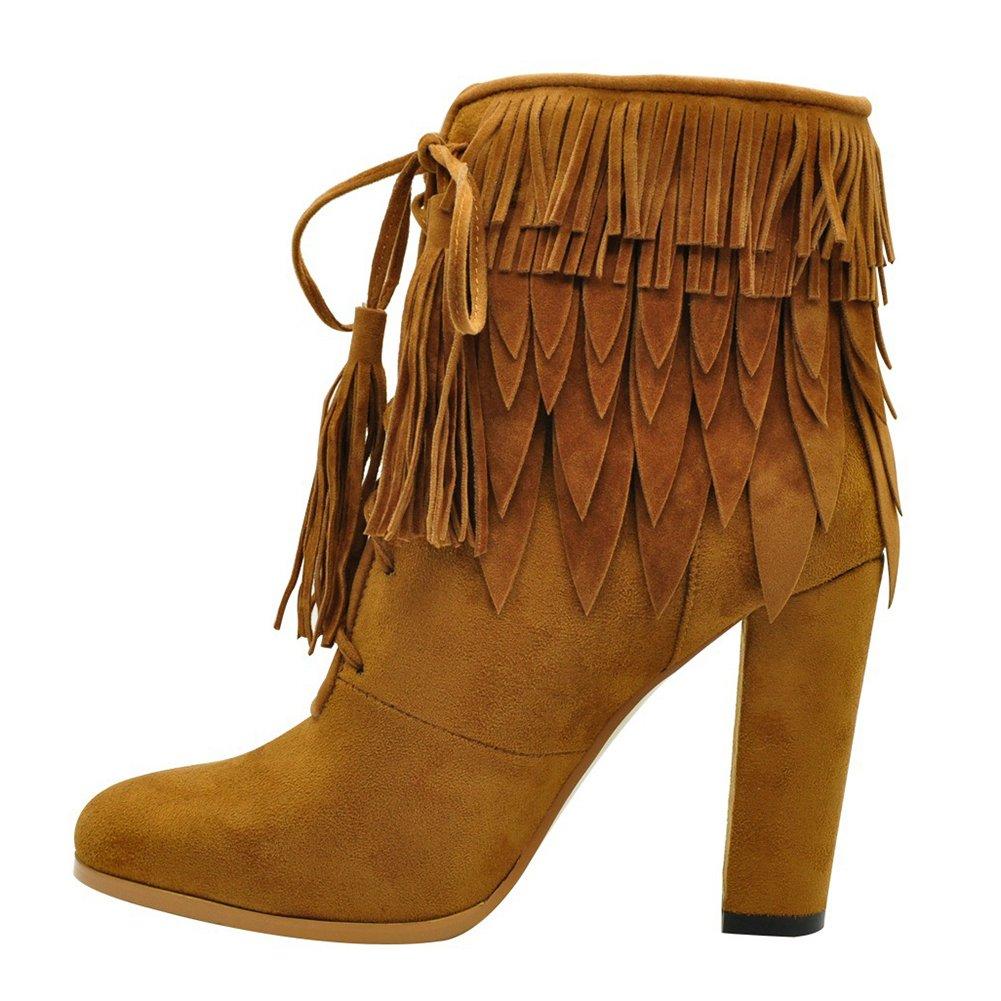 KJJDE Mujer Alta Tacón Botas Prima TLJ-071801 Borla De Moda Tacón Alto De Sexy Fiesta Baile Zapatos, Brown,36