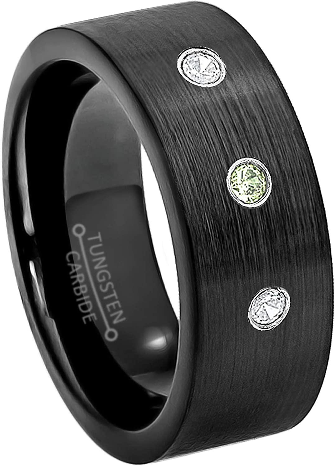 0.21ctw Peridot /& Diamond 3-Stone Anniversary Band August Birthstone Ring 9mm Brushed Finish Black IP Comfort Fit Pipe Cut Tungsten Carbide Ring Tungsten Wedding Ring