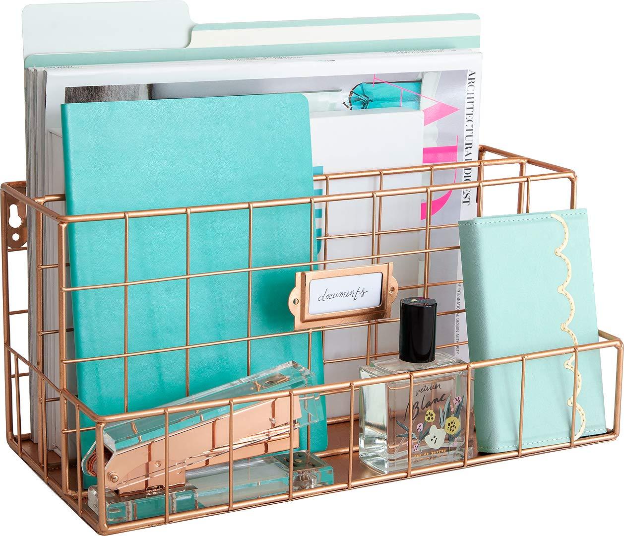 Blu Monaco Rose Gold Desk Organizer - Mail Organizer - 2 Tier Mail Basket - Metal Mail Sorter Inbox - Desk Accessories Women Office