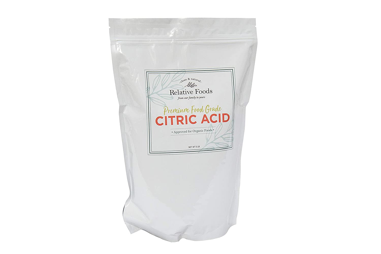 Relative Foods, food grade citric acid, 5 pounds packaged in our allergen free facility, heavy duty stand up pouch with resealable zipper.