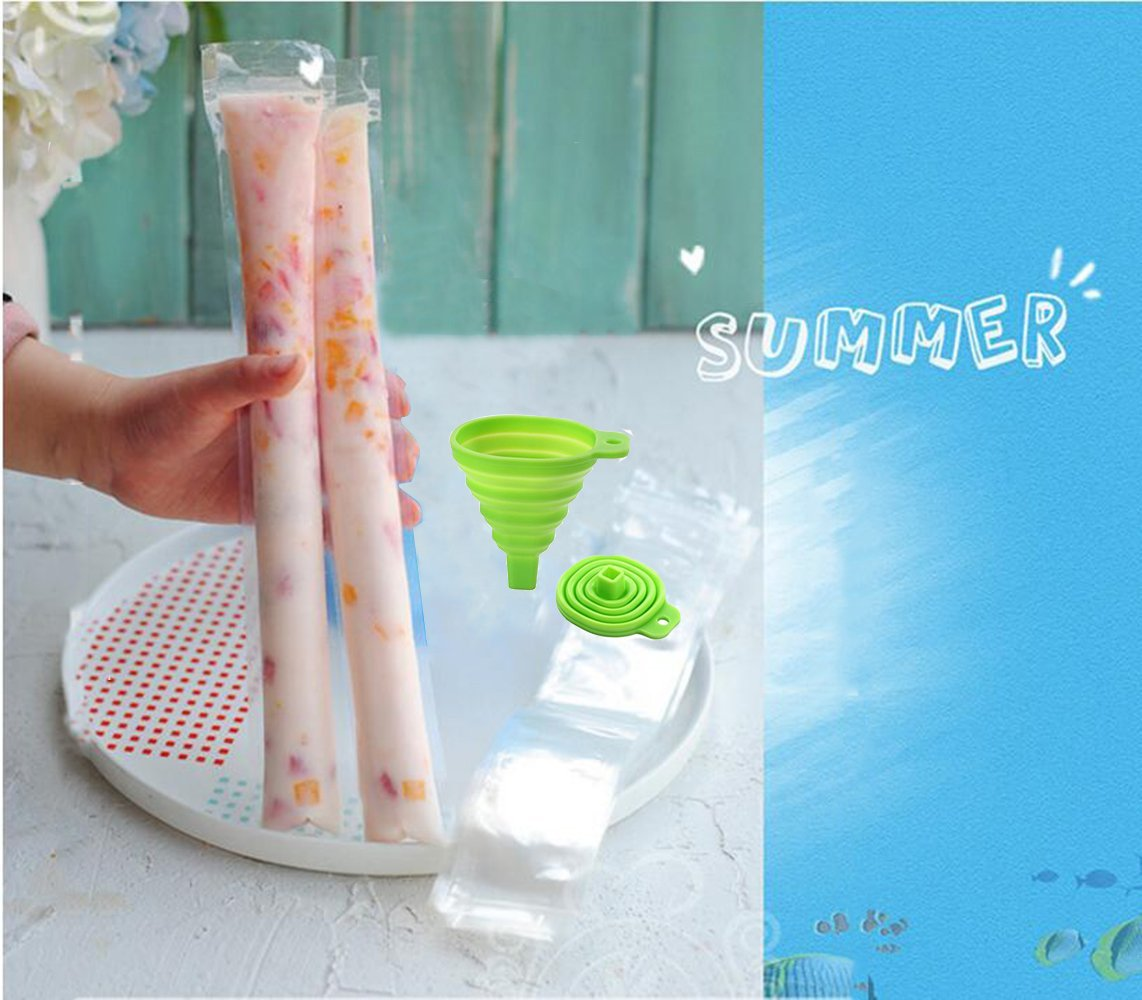 "120pcs Ice Popsicle Molds Bags Pop Mold Pouch with Zip Seals get Foldable Funnel Free, 11""x2"" DIY Zip-Top Ice pop Pouches for Gogurt, Ice Candy or Freeze Pops, BPA Freezer Tubes for Kids and Adults"