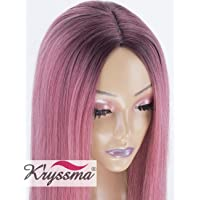 K'ryssma Long Straight Ombre Pink Synthetic Wigs For Women 2 Tone Dark Roots Glueless Replacement Hair Wig Heat Resistant Fiber 24 Inches