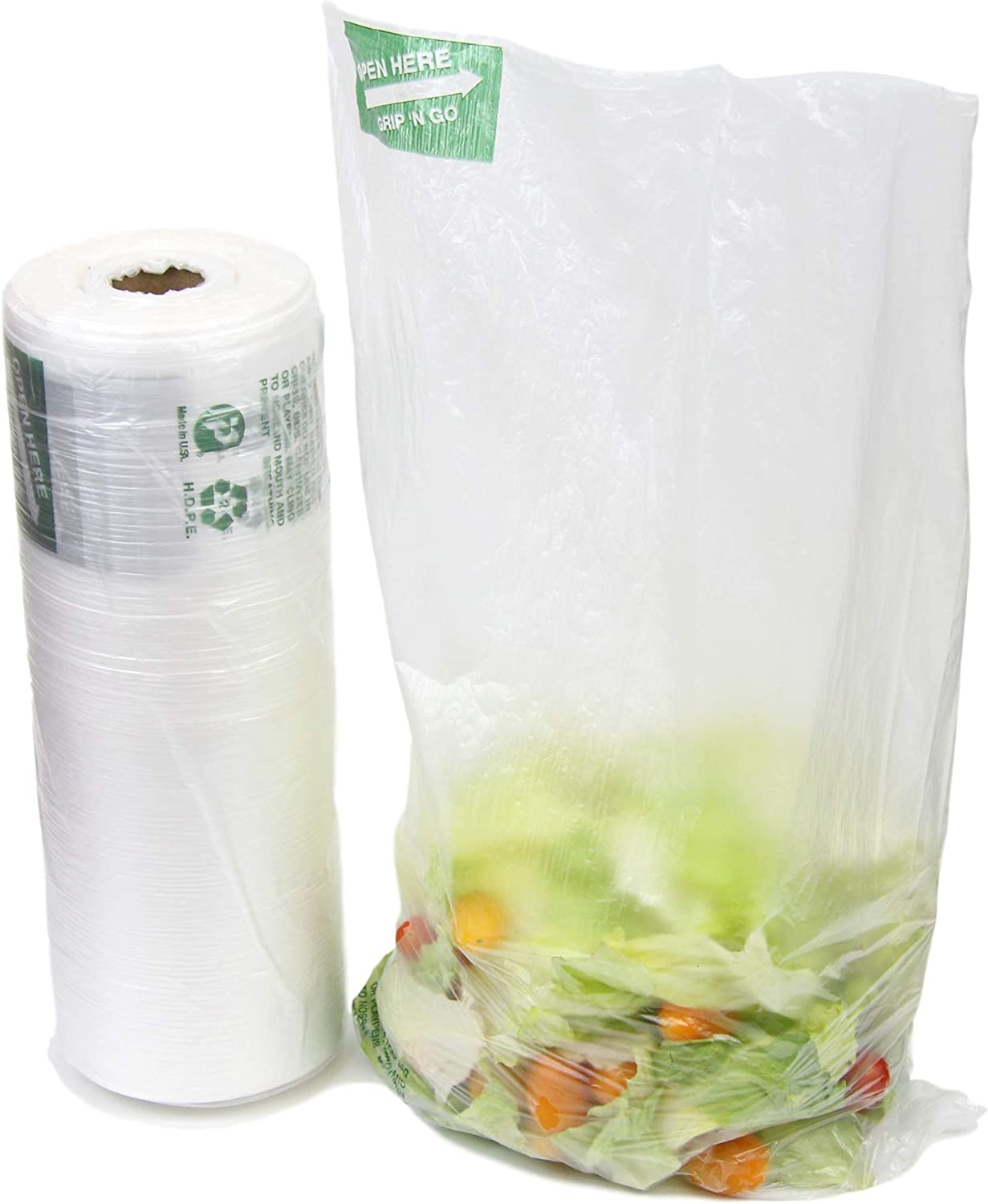 "650 Ct 12""x 20"" Large Plastic Produce Bag Roll, US Made HDPE, Durable Clear Food Storage Saver for Fruit Vegetable Bakery Snack Grocery Bags"
