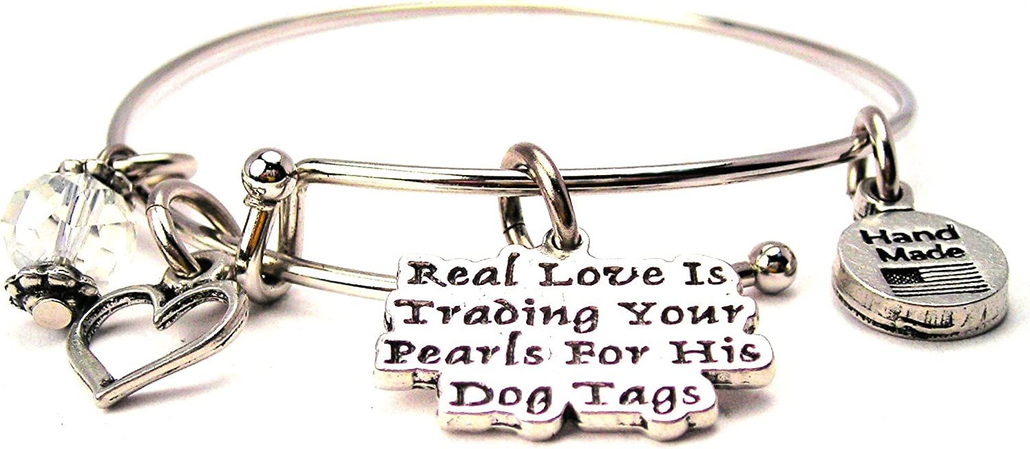 ChubbyChicoCharms Real Love Is Trading Your Pearls Expandable Wire Bangle, 2.5""