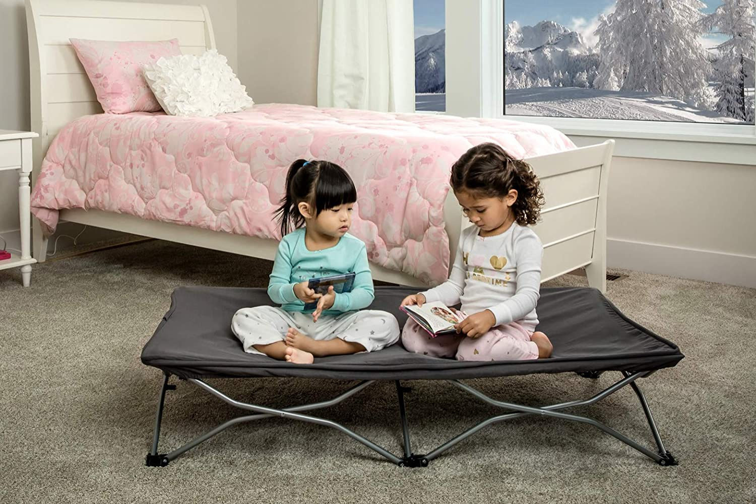 Regalo My Cot Portable Travel Bed, Grey, Includes Fitted Sheet and Travel Case 5009 DS