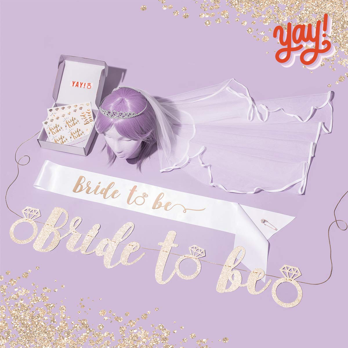 xo, Fetti Bachelorette Party Bride To Be Decorations Kit - Bridal Shower Decorations | Sash For Bride, Rhinestone Tiara, Gold Glitter Banner, Veil + Bride Tribe Flash Tattoos