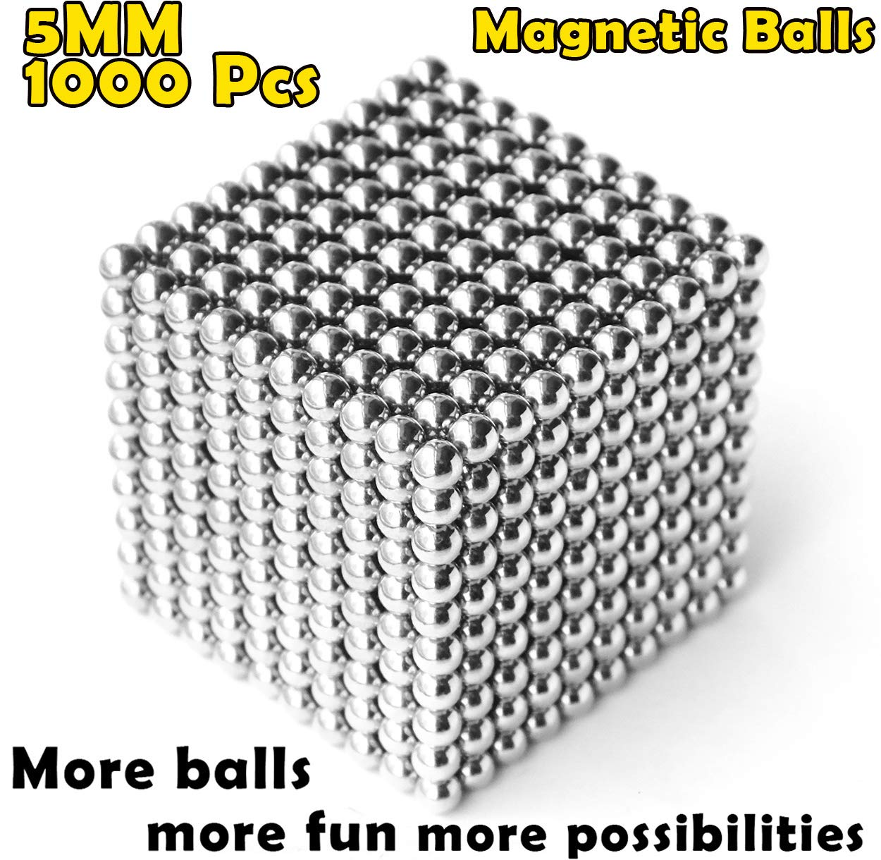 aBrilliantLife 5MM 1000 Pieces Magnetic Balls Toys Sculpture Building Magnetic Blocks Magnets Cube Gift for Intellectual Development -Office Toy Stress Relief Gifts for Teens and Adult-Sliver by aBrilliantLife (Image #1)