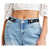 "JasGood Women/Men Buckle-Free Elastic Belt - 1.25"" Ladies Invisible Waist Belt Fits 24"" to 36"" - Jeans and Dress with Metal Buckle"
