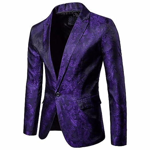 Mens Charm Casual Jacket-One Button Fit Suit Blazer Coat ...