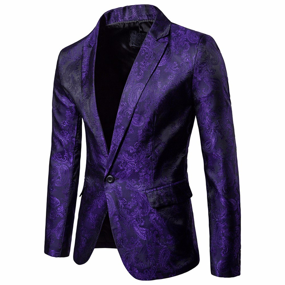 TAGGMY Men's Suit Jacket Slim Fit Formal Bussiness Long Sleeve Regular Fit Pattern Blazer Big and Tall Coat Top Purple