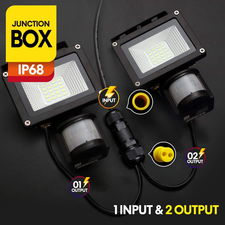 paquet de 3 Bo/îte de jonction ext/érieure Emballages combin/és IP68 /à 4 broches de connecteur de c/âble /étanche