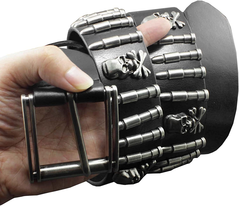 Cool Mens Bullet Skull Stud Punk Rock Biker Real Leather Belt Waistband726146236614