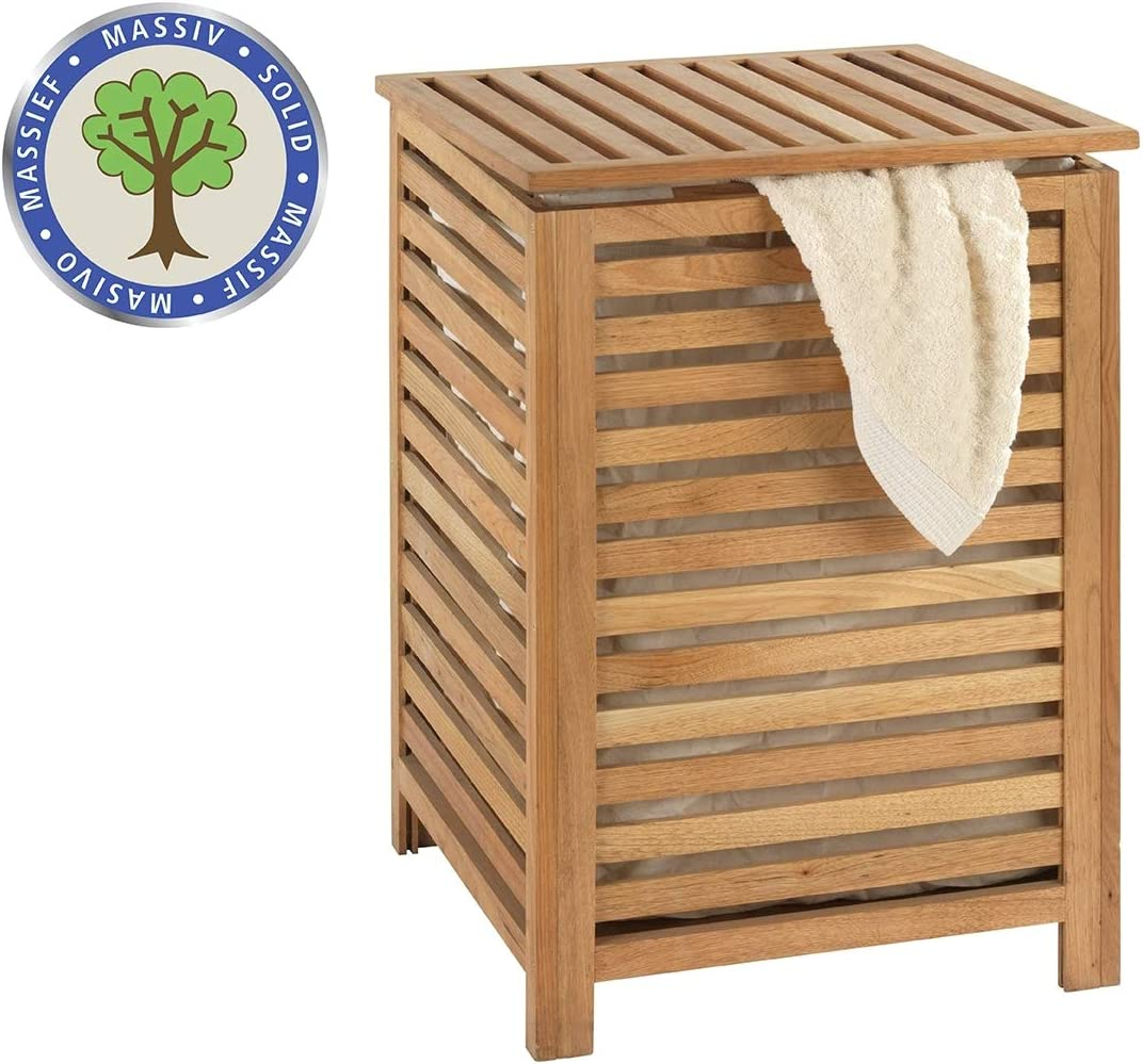 Wenko 18620100 Norway Laundry Basket Walnut Wood 45 x 65 x 45 cm