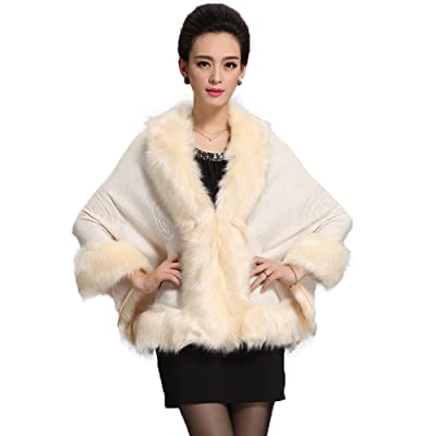 Caracilia Women Bridal Faux Fur Shawl Wraps Cloak Coat Sweater Beige2 at Women's Coats Shop