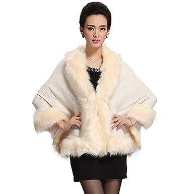 0b14dd4c1f5 Caracilia Women Bridal Faux Fur Shawl Wraps Cloak Coat Sweater Beige ...