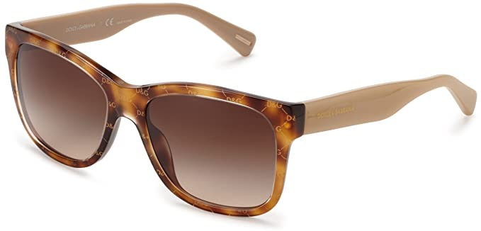 Dolce & Gabbana Women's 4158p All Over Gold On Beige Frame/Brown Lens Plastic Sunglasses d9iaM