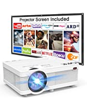QKK Projector, AK-81 Mini Projector with Projection Screen, 4500 LUX Video Projector Supports 1080P Full HD, Compatible with TV Stick, PS4, HDMI, VGA, SD, AV and USB, Home Theater Projector, White.