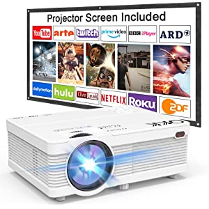 Projector QKK AK-81 Mini Projector with Projection Screen, 4500 Lumens Video Projector Supports 1080P Full HD Compatible with TV Stick, PS4, HDMI, VGA, SD, AV and USB, Home Theater Projector, White.