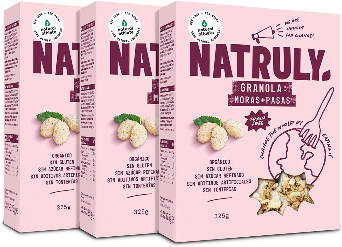 NATRULY Granola BIO de Frutos Secos y Semillas Sin Cereales, Sin Gluten y Sin Azúcar Refinado, Vegana, Sabor Moras y Pasas -Pack3x325g