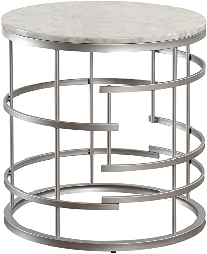 Homelegance Brassica 24 Round Faux Marble End Table, Silver