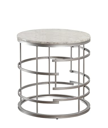 Homelegance Brassica Round Faux Marble Top End Table, Silver