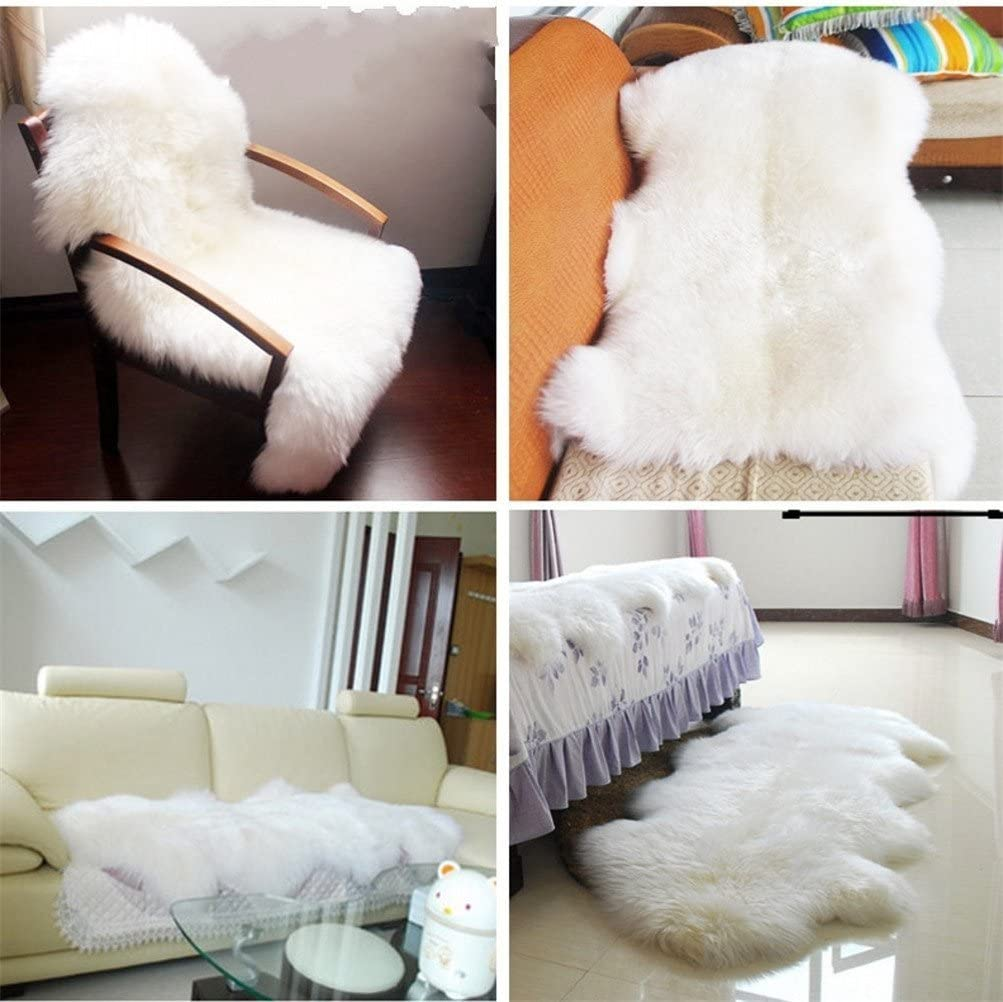 KAIHONG Faux Fur Sheepskin Style Rug black, 50 x 80cm 50 x 80 cm Faux Fleece Chair Cover Seat Pad Soft Fluffy Shaggy Area Rugs For Bedroom Sofa Floor
