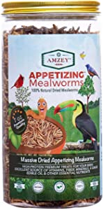 Dried Mealworms- 7 oz- High Protein Non GMO Mealworms - Great for Turtle Food, Bird Food, Cockatiel Food, Lizard Food, Snake Food, Iguana Food, Sulcata Tortoise Diet- 7oz in Tight Seal Container